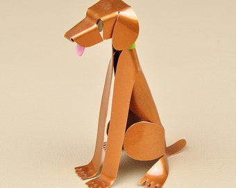 "Vizsla Dog Sculpture 4"" tall Handmade Copper Miniature Collectible Art"