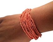 Multi Strand Bracelet - Orange Boho Beaded Bracelet - Handmade Upcycled Jewelry