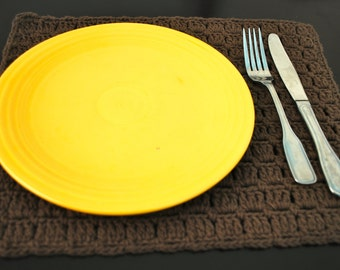 Brown Crochet Placemats- Set of 4