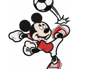Soccer Mickey Mouse Embroidery Design in 3 Sizes - Instant Diownload