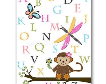 Digital Alphabet Nursery Art Baby Girl Nursery Digital Download Art Printable Digital Download Print 8x10 11X14 kids INSTANT DOWNLOAD print