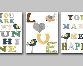 You are my sunshine INSTANT DOWNLOAD Art Digital Baby Room Digital Art Baby Boy Nursery Download Digital Download Art set of 3 8x10 11X14