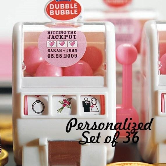 Personalized Wedding Favor - Edible Wedding Favor - Miniature Slot Machine Gumball Machine - Set of 36 - Gumball Dispenser - Las Vegas