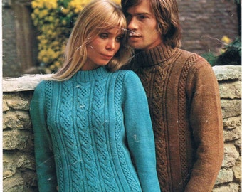 Vintage Knitting Pattern PDF: 1970s Mens and Womens Sweaters Digital Copy