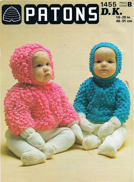 Vintage Knitting Pattern PDF: 1970s Patons Baby Bobble or
