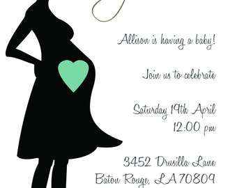 baby shower invitations pregnant silhouette