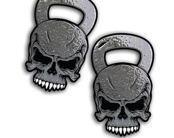 Skull Kettle bell Kettlebell Workout Gym Cross Train Fit Vinyl Window Die Cut Decal Sticker