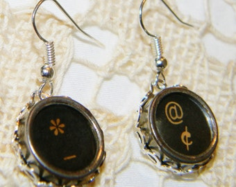 Antique Typewriter Key Punctuation Earrings Black Dangle Earrings Punctuation Keys Asterisk, Dash, At and Cent Symbols Earrings Black Keys
