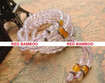 108 Natural Rose and Yellow Quartz Buddhist Prayer Bead Mala Necklace Bracelet