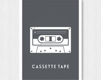 Dark Grey Cassette Tape Print, Wall Print, Wall Decor, Dark Gray, Cassette Tape, Mix Tape, Music, Printable, Digital Poster, Download