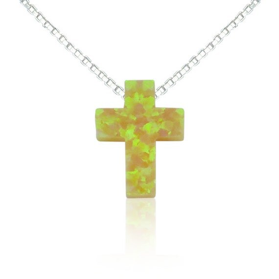 Yellow cross opal necklace, the only one on Etsy, Exclusively made in limited edition, Waterproof, Tarnish proof chain