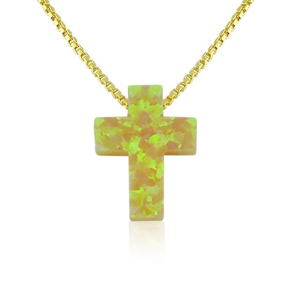 yellow opal cross necklace gold plated sterling silver safe to get wet