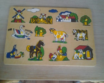 Vintage Animals Puzzle - Wood