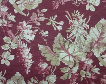 Brentwood Design - Waverly Fabric - TWO COLORS - Burgundy - Natural - Sold by the Yard - Morningstars