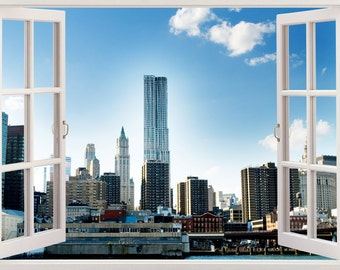 New York Wall Decal 3D Window, New York Wall Sticker NY USA For Home Decor