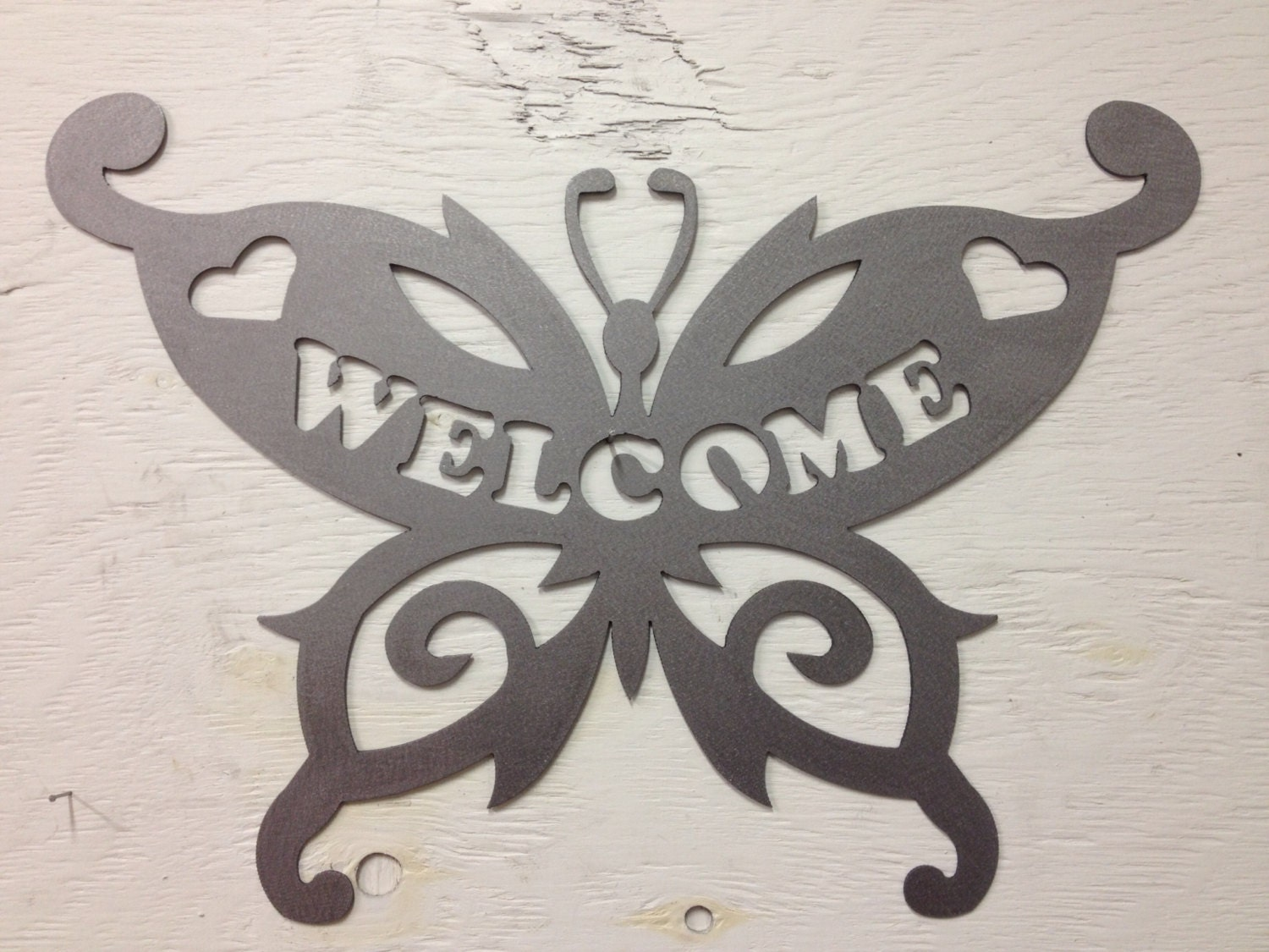 Metal Butterfly Welcome Sign 16 x 12