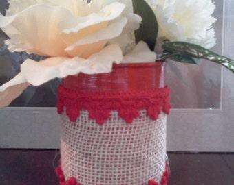 Red white Burlap tin vase with red trim