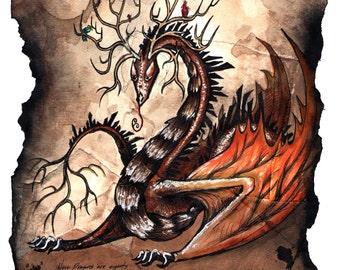 Novo Dragon Mixed media print, Scroll, Burnt, Fantasy Art, Dragon art