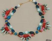 Firework - handmade beaded gemstone statement necklace, semi precious stones
