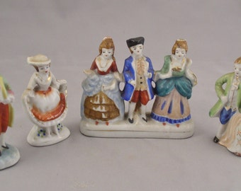 1940s Occupied Japan Set of Seven Porcelain Colonial Figures in Beautiful Condition