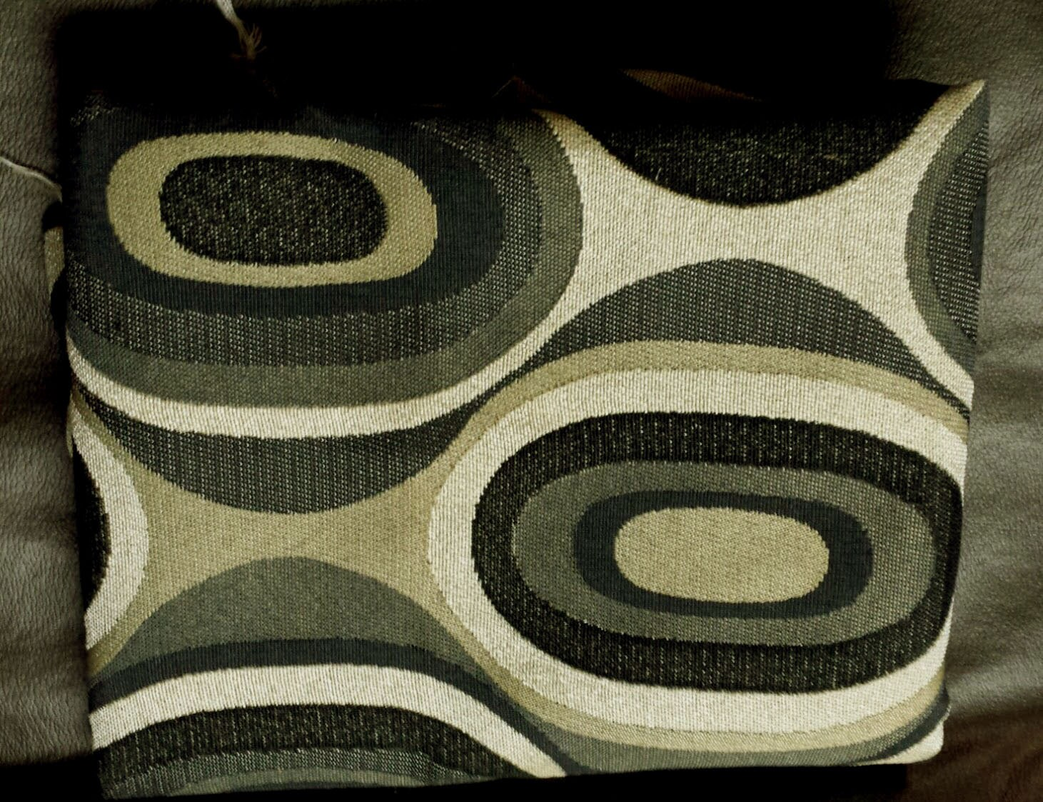 Art deco oval black gray taupe upholstery fabric x103 - Deco taupe ...