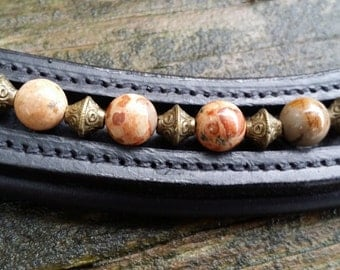 Out of Africa dressage browband for horses with Safari Jasper with antique brass spacers