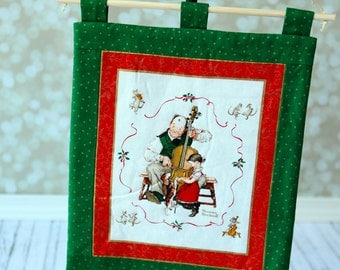 Norman Rockwell Quilt Wall Hanging ,  Kids room Christmas Wall decor . Ready to ship.