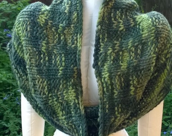 Green, Wool, Cowl, Capelet, Large, Hand Knit, Circular, Wide