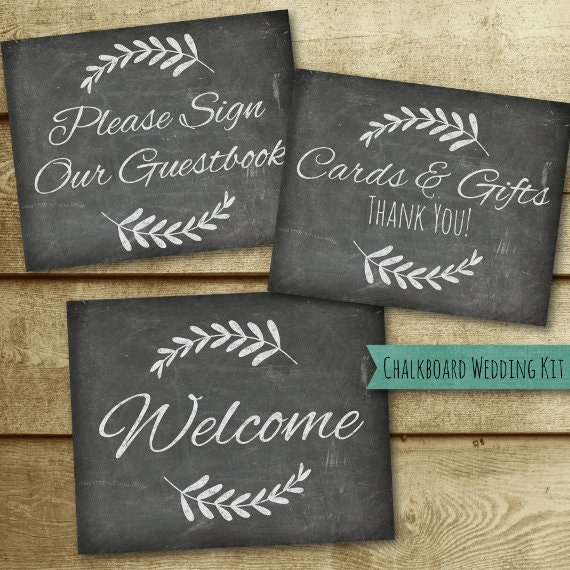Chalkboard Wedding Sign Printable Kit - Table Numbers - Welcome - Photo Booth - Gifts - Advice - Reserved - Mr. Mrs. - Guestbook - Seating