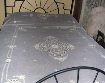 Exquisite Antique Tambour Lace Bedspread Curtain Panel