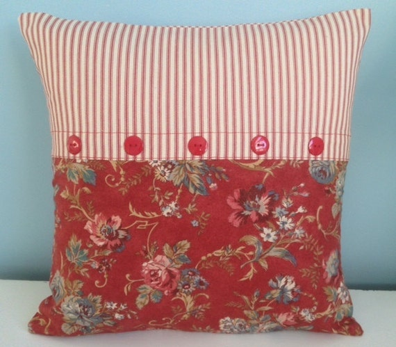 French country pillow cover Designer Ralph Lauren red floral