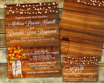 Rustic Fall Wedding Invitation | Shower Invitation | Fall Invitation | Autumn Wedding | Mason Jar | DIgital Invitation | Print your own
