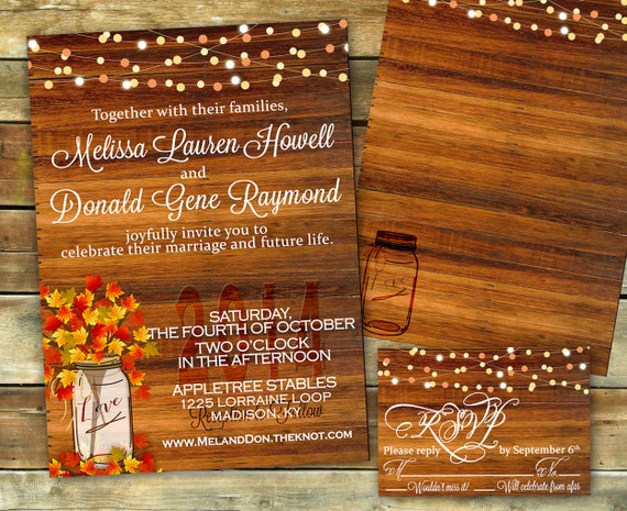 fall wedding invitations rustic fall wedding invitation shower invitation fall 4039