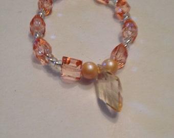 Peach,rose white beaded bracelet