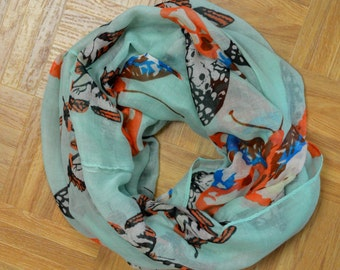 Teal Butterfly Light Weight X-large Infinity Scarf Loop Cowl