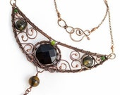 Miriel - elvish, romantic, ususual necklace,hand made, wire wrapped with copper, onyx, dragon agate and jade