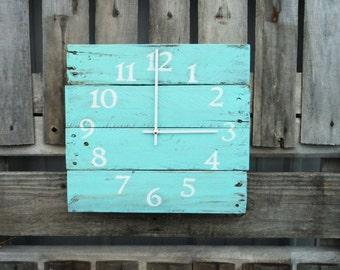 Reclaimed Wood Clock Beach Clock Aqua Wood Clock