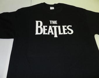 The Beatles T Shirt Tee 100% Cotton Black The Fab Four John Paul George Ringo Screen Print Hey Jude