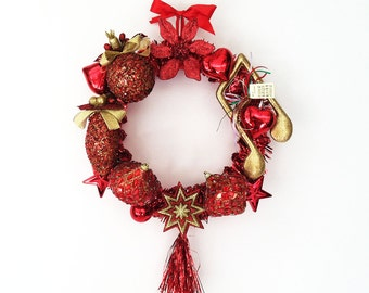 The Jingle Bell Rock Red Hand Crafted Christmas Wreath: Home Decor