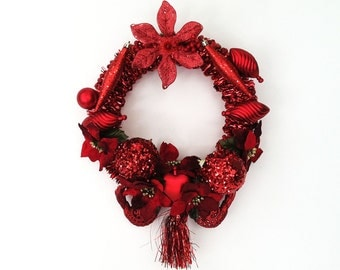 The Blood Moon Red Hand Crafted Christmas Wreath: OOAK Home Decor