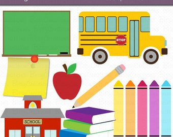 School Clipart Digital Art Set INSTANT DOWNLOAD School Bus Clipart Back to School