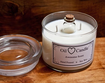 Ocean Mist - Oil Heart Candle™ - Soy wax candle with an oil burner in the heart of it!
