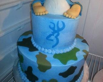 Handmade Edible Fondant Baby Bottom and Feet Cake Topper Set
