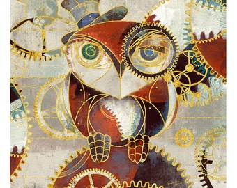 STEAM PUNK OWL #2, 14x14 Giclée on stretched canvas
