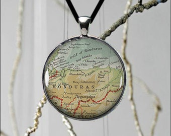 Honduras, Central America Map Vintage Style Necklace Unique Custom Made Jewelry Gift Ideas Fun Necklace - 2 sizes available