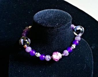 Amethyst Lamp Work Bracelet