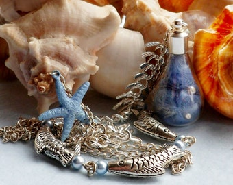 Blue Mermaid Bottle Necklace
