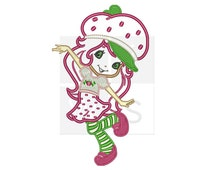 strawberry girl applique Design for Embroidery machines in 5x7 - Instant Download