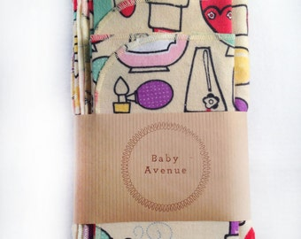 Makeup Baby Swaddle/Receiving Blanket+Two Burp Cloths