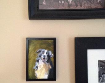 Happy Dog on Green-Original painting